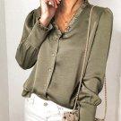 Green Frilled V Neckline Buttoned French Shirt