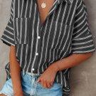 Black Short Sleeve Striped Shirt
