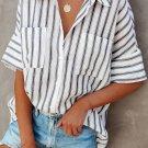 White Short Sleeve Striped Shirt