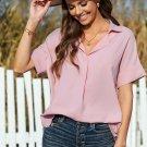 Pink Short Sleeve Button Solid Shirt