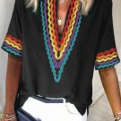 Black Ethnic Colorblock Short Sleeves Top