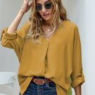 Yellow V Neck 3/4 Sleeve High Low Hem Shirt