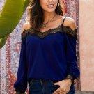Blue Lace Cold Shoulder Blouse