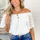 White Off The Shoulder Swiss Dot Crop Blouse