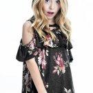 Black Ruffled Cold Shoulder Floral Girls' Top