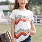 White Colorblock Striped Girls' T Shirt