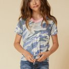 Little Girl Contrast Trim Camo Print T Shirt with Knot