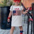 USA Sequin Flag Print Little Girls T Shirt Dress