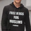 Hugs For Muslims Lightweight Long Sleeve Hooded T-Shirt, Black/Dark Gray (S-XL)