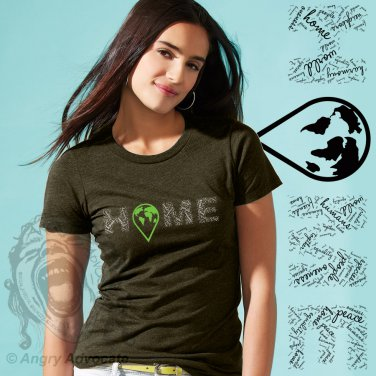 HOME Womens Basic Crew, Military Green (S-3XL)