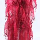 Cherry Red Color Scarf Wrap Tassels Stole Winter Warm