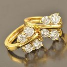 9 Karat Yellow GP Earrings Butterfly Costume Pierced Hoops Bright Zircon