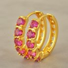 9 Karat Yellow GP Hoop Earrings Ruby Red Color Zircon Costume