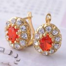 9 Karat Yellow GP Ruby Color and Clear Zircon Costume Earrings