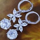 9K White GP Costume Hoop Dangle Earrings Flower Zircon Solitaire