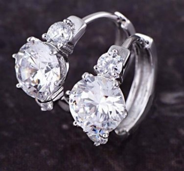 9K White GP Hoop Earrings Faceted Zircon Solitaire Costume Jewelry Style 2
