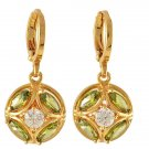 9K Yellow GP Pierced Dangle Earrings Green Zircon Peridot Color Drop