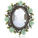Cameo Brooch Green Rhinestone Enamel Brass Color New Costume Pin