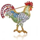 Rooster Brooch New Costume Jewelry Bird Pin Rhinestone