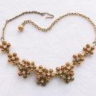 Bronze Gold Necklace Enamel Flower Rhinestones Vintage Jewelry Choker