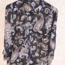 Croft & Barrow Size L Black White Brown Floral Paisley Shirt New