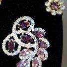 Purple Clear Rhinestone Demi Large Vintage Brooch Earrings Wedding Bride