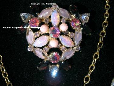 Huge Purple Pink Aurora Borealis Clear Rhinestone Floral Vintage Brooch Estate Jewelry