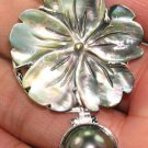 Sterling Silver Mother of Pearl Black Pearl Flower Pendant