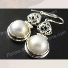 Sterling Silver Mabe Pearl Earrings Stamped 925 Lever Back Jewelry