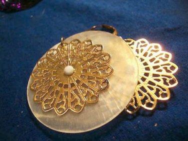 Shell Pearl Disc Filigree Metal Costume Dangle Earrings Pierced Circle
