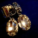 Rhinestone Dangle Earrings CLear Bright Clip On Style Vintage
