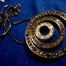 Gray Metal Rhinestone Discs Necklace Curcular Pendant Modern Jewelry