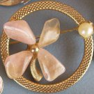 Vintage Brooch Pink Lucite Flower Circle Pin Pearls Estate Jewelry