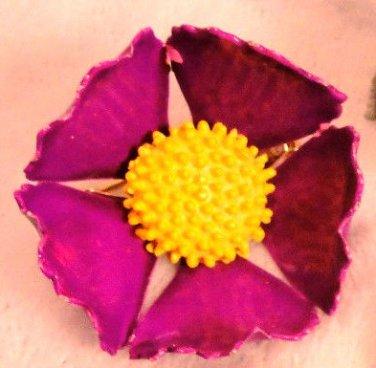 Purple Enamel Vintage Brooch Flower Pin Estate Jewelry