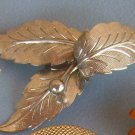Vintage Brooch Silver Leaves Estate Jewelry Costume Pin