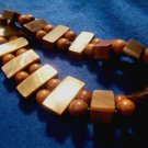 Brown Abalone Bracelet Wood Beads Unsigned Modern Stretch Costume Jewelry