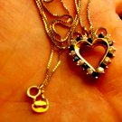 Sterling Silver Necklace Heart Pendant Vermeil Signed JJT 925 Zirconia Sapphire