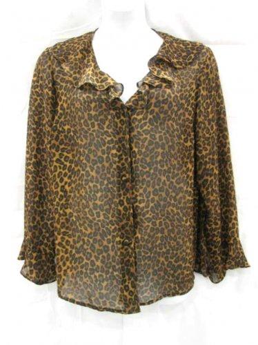 George Woman 2X Shirt Brown Black Animal Print Ruffled