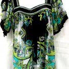 eci 2X Blouse Black Green Semi Sheer Crinkled Polyester