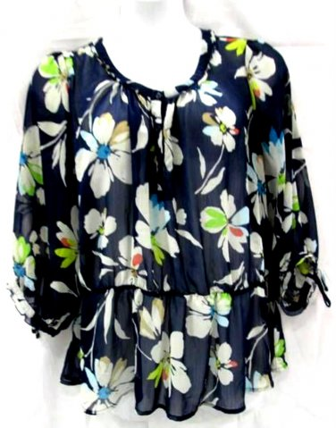 Old Navy XXL Blouse Semi Sheer Floral Blue Green Polyester