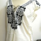 J Crew S Off White Boho Blouse Black Embroidered Flowers New Thin Cotton NWOT