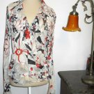 Lucky Brand L Blouse Polyester Long Sleeves Wrap Style Red Black White New WOT