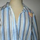 Riders Size 1X Shirt Blue White Striped 3/4 Sleeves Wrinkle Free New w Tags