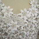 Coldwater Creek Top Size S Beige Gold Lace New Blouse Floral Applique New 6 8