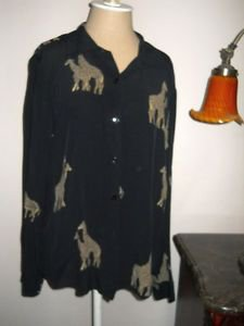 Ilyse Hart Size L Career Blouse Black with Giraffes Zebras Print Top Rayon New