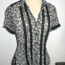 Banana Republic Silk Top Size S Black Gray Floral Shirt Short Sleeve Semi Sheer