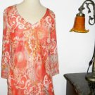 Silk Blouse Size Large L AllisonTaylor Orange Floral Lined Long Sleeves New