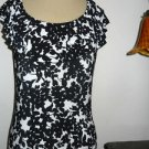 CHAPS CLASSIC S Black White Polyester Tank Blouse Sleeveless Ruffled Top Small