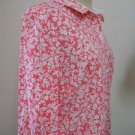 Laura Scott Size L Pink Floral Shirt Long Sleeves Top Wrinkle Free Cotton New