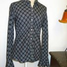 Ralph Lauren Shirt Size S Black White Stripes Checks Button Front Long Sleeves